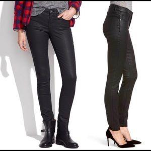 """Madewell 9"""" High Rise Wax Black Coated Skinny Jean"""